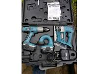 Erbauer battery drill, jigsaw and torch