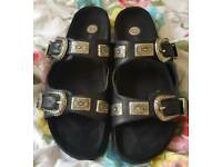 River Island Buckle Sliders size 7 (AS NEW)