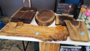Live edge serving boards and cutting boards