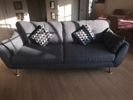 DFS French Connection three seater sofa plus footstall and 2 x cushions