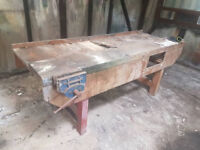 old vintage work bench with vice make ideal shabby cheek £100 bargain.