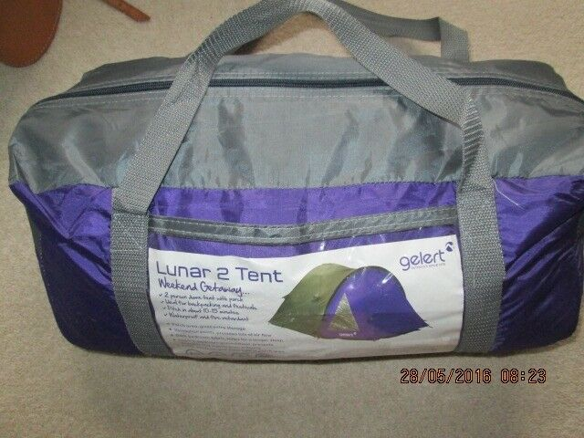 GELERT LUNAR 2 PERSON TENTin Cupar, FifeGumtree - Gelert 2 man tent only used once couple of the toggles have snapped but otherwise in excellent condition,the covers are waterproof and fire retardant tent is easy to pitch porch area to give you extra storage sewn in bedroom groundsheet helps to...