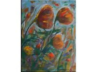 Poppies Oil Painting Painted by Artist on Stretched Canvas 59 x 70 cm Impressionists Palette Knife