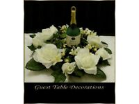 10 Ivory Wedding Guest Table Decorations Wreath Style, Ivory Dew Drop Roses With Ivy... * Brand New*