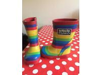 Size 3 JoJo Maman Bebe Rainbow stripe wellies