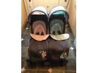 Double buggy with rain covers