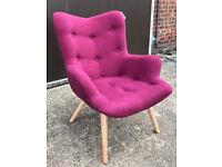 Brand New Hygena Angel Fabric Chair - Pink/Lilac