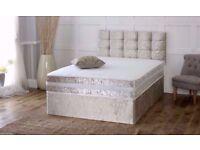 ★ SPECIAL OFFER ★★ BRAND NEW ★ CRUSH VELVET DOUBLE DIVAN BED WITH ORTHOPEDIC MATTRESS
