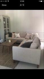 Izzy corner sofa from sofa . Com in natural cream woven linen