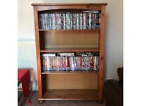 Living room furniture, wood glass display cabinet and wood bookcase. In a really good condition.