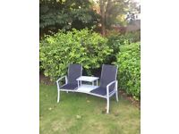 Out-sunny Garden Patio 2 Person Bench Aluminium Mesh Fabric Seat w/Table Armrest