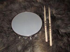 Tambourine and drum sticks