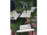 Cast iron bench table set must see reduced to £300 ***