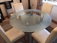 Glass Dining Kitchen Table & Chairs
