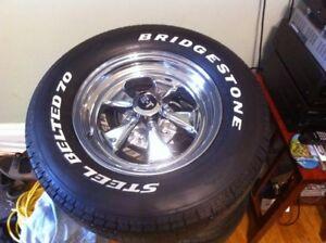 """4 Ford 15"""" Rims 4 Bridgestone Steel Belted Radial Tires"""