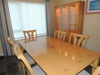 Beech Dining Room Table 6 Chairs & Display Cabinet
