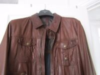 Brown leather jacket by Massimo Dutti