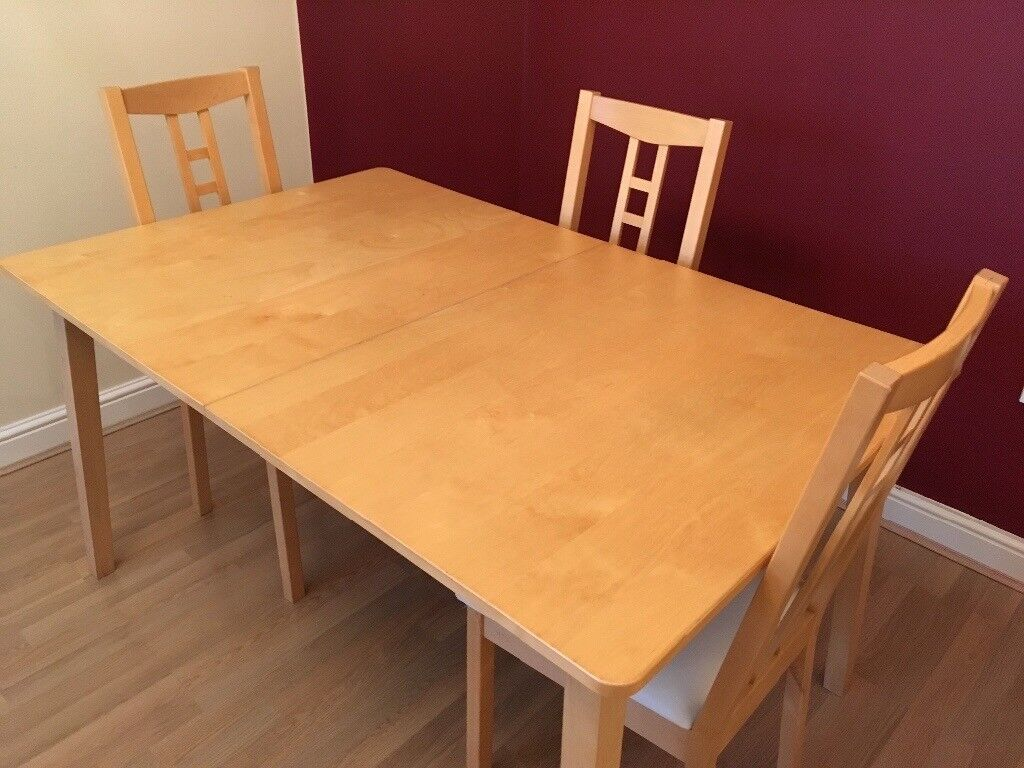 *\u00a375* Ikea Nygard Extendable Dining Table and 3 Aron Chairs  in Radyr, Cardiff  Gumtree
