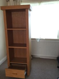Solid oak tall unit with drawer & small table