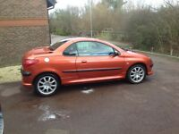Rare Flame Orange colour Peugeot 206 Convertible for sale. Project to finish, minor MOT failure