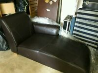 Dark Brown Leather Chaise Longue Bedroom/Living Room Day Bed