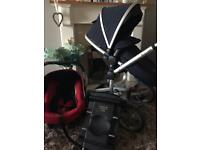 Silver cross surf pushchair with car seat and ISO fix base