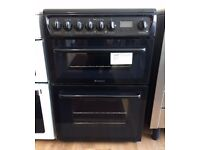 HOTPOINT - Black, 60cm Ceramic, Fan Assist ELECTRIC COOKER + 3 Month Guarantee + FREE LOCAL DELIVERY