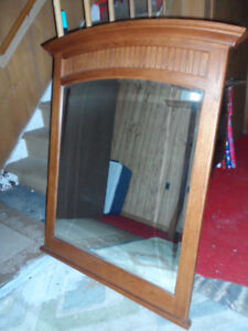 "SOLID WOOD, CURVED & BEVELLED EDGE MIRROR 34"" X 46"""