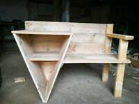 Hand made seat with side table