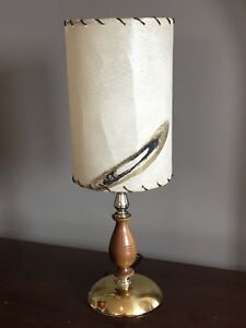 Nice Mid Century Table Lamp Fibreglass Shade with Brass & Wood
