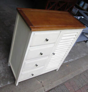 Moving- Cream-Coloured Pine Dresser  with brown top