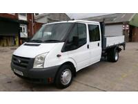 2010 10 FORD TRANSIT 2.4 350 DRW 1D 115 BHP CREW CAB TIPPER WITH TAIL LIFT ////