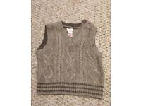 Monsoon baby boy knitted waistcoat 6-12 months