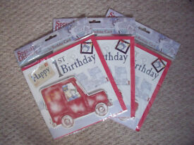 NEW un-opened in original sealed packaging, 3 handcrafted Postman Pat 1st birthday cards 20 x 20 cms