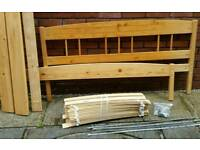 Ikea double bed pine wood frame. 208cm x 149cm. In good condition.