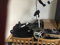 Motocaddy S3 trolley in white with lithium battery also has umbrella holder and carry case