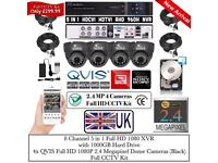4 Cameras QVIS Full HD CCTV KIT, 8CH FULL HD XVR DVR, 4x QVIS 2.4MP Dome Cameras