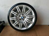 "BMW GENUINE 172M 5 SERIES E60 E61 19"" SPYDER M SPORT WHEEL WITH GOOD TYRE CAN POST ANYWHERE IN UK"