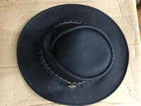 Black Hawkins Haps Australian style widebrimmed waxed leather hat large size (57 cm)