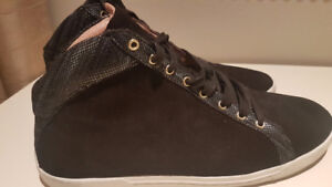 Joie suede lace-up sneakers with leather print trim