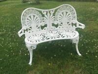 2 seater white garden bench