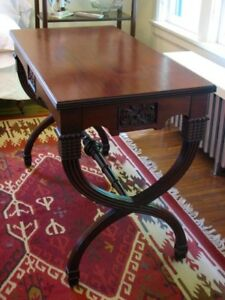 Vintage Large Mahogany Carved Rectangular Hall Table with Drawer