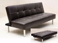 Faux black leather sofa bed sofabed