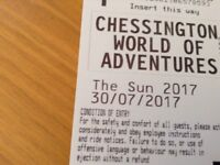 2 X Chessington world of adventures for 30th July 2017