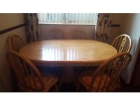 Pine dining table with 6 chairs and side dresser