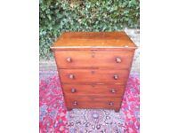 GEORGIAN ANTIQUE GENTLEMAN BATCHELORS GEORGE 111 MAHOGANY CHEST OF DRAWERS..IDEAL FOR SMALL BEDROOM