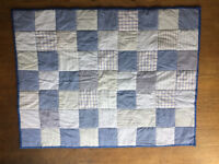 Handmade blue and white quilt