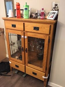Oak glass display cabinet