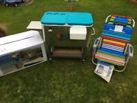 Tommy Bahama Stainless Steel Rolling Cooler & Beach Chair Set RRP £300