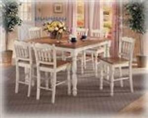 Light Color, Beautiful, Tall Dining Table with 6 Chairs
